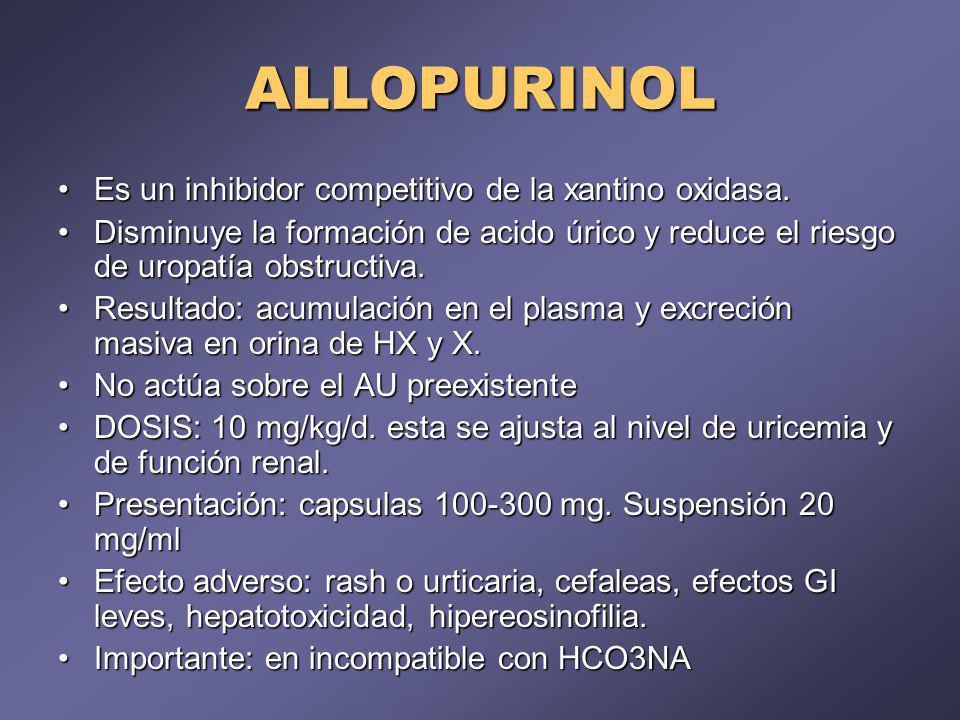 ALLOPURINOL Es un inhibidor competitivo de la xantino oxidasa.
