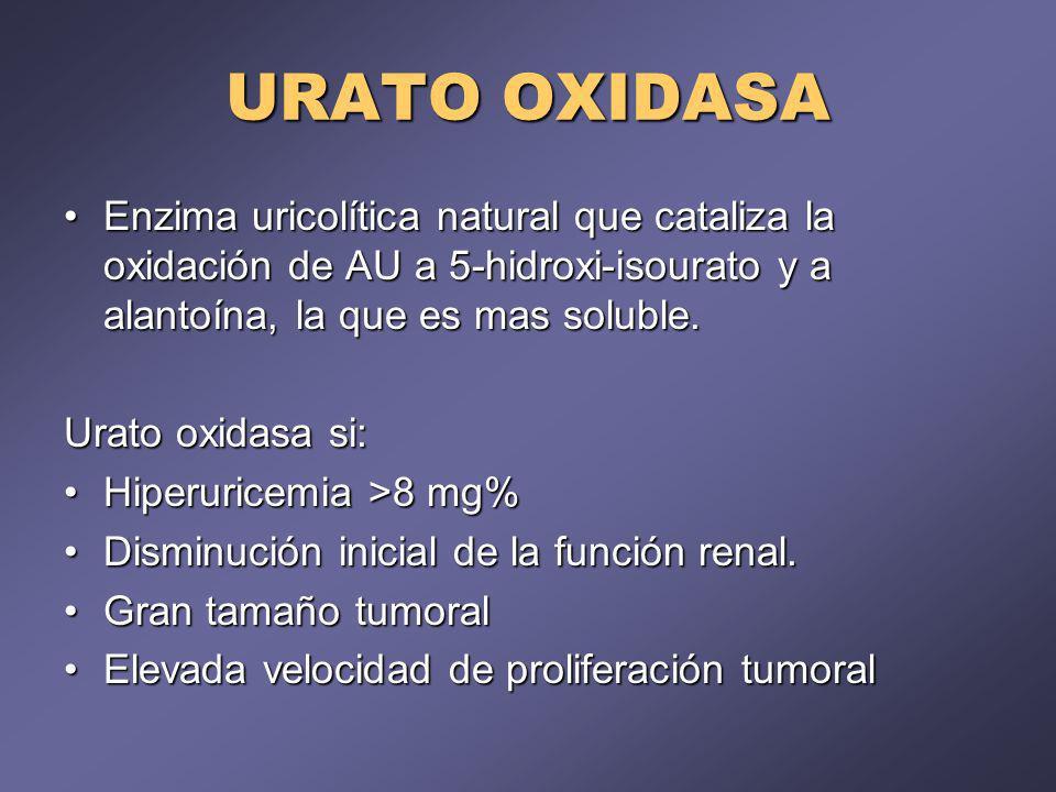 URATO OXIDASA Enzima uricolítica natural que cataliza la oxidación de AU a 5-hidroxi-isourato y a alantoína, la que es mas soluble.