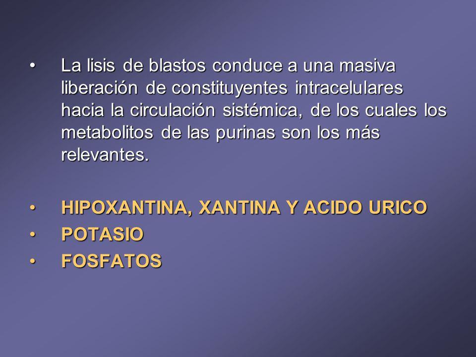 La lisis de blastos conduce a una masiva liberación de constituyentes intracelulares hacia la circulación sistémica, de los cuales los metabolitos de las purinas son los más relevantes.