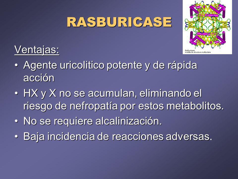 RASBURICASE Ventajas: Agente uricolitico potente y de rápida acción