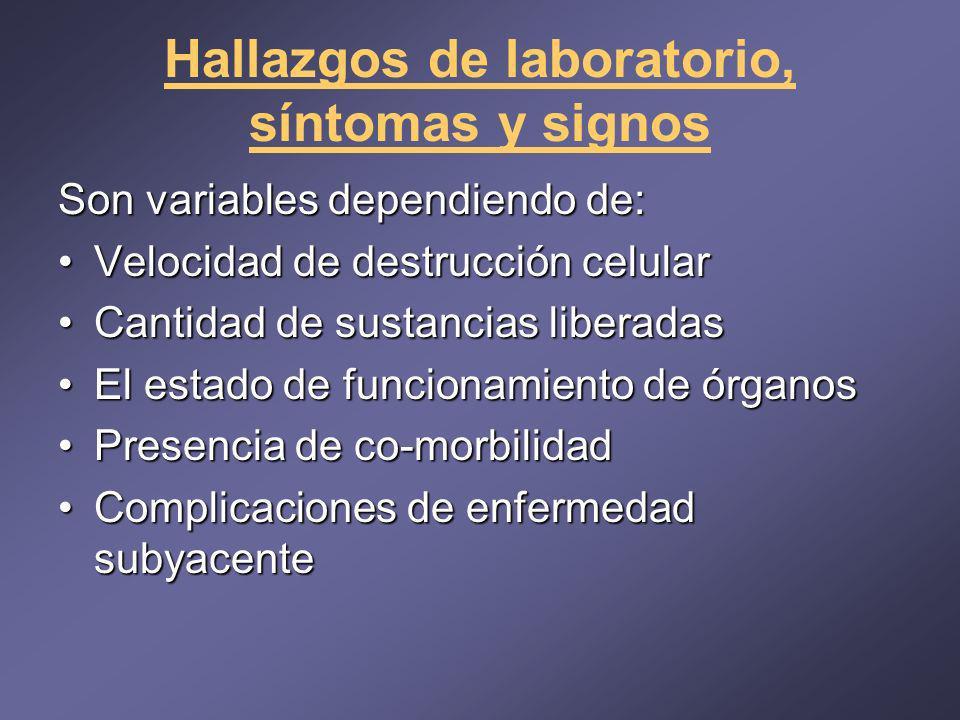 Hallazgos de laboratorio, síntomas y signos