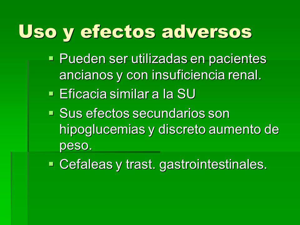 Uso y efectos adversos Pueden ser utilizadas en pacientes ancianos y con insuficiencia renal. Eficacia similar a la SU.