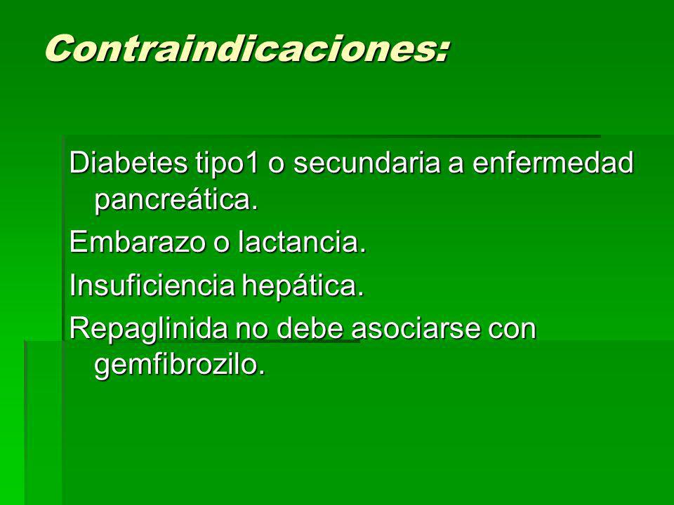 Contraindicaciones: Diabetes tipo1 o secundaria a enfermedad pancreática. Embarazo o lactancia. Insuficiencia hepática.