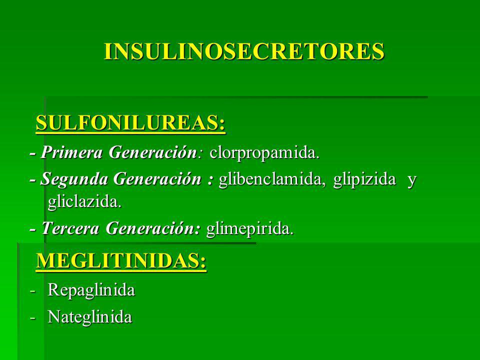 INSULINOSECRETORES SULFONILUREAS: MEGLITINIDAS: