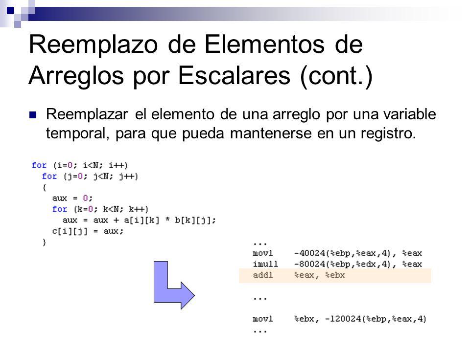 Reemplazo de Elementos de Arreglos por Escalares (cont.)