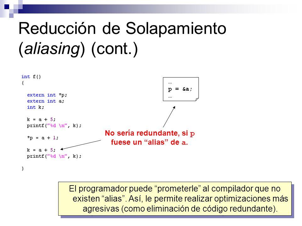 Reducción de Solapamiento (aliasing) (cont.)