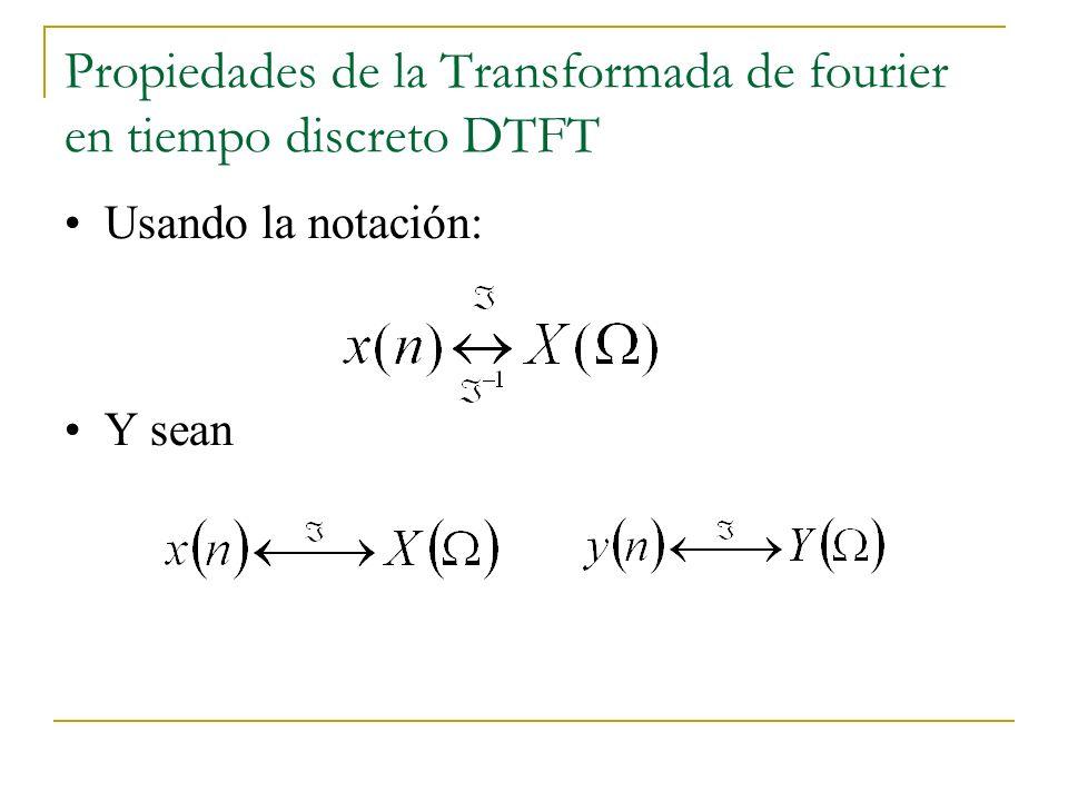 Propiedades de la Transformada de fourier en tiempo discreto DTFT