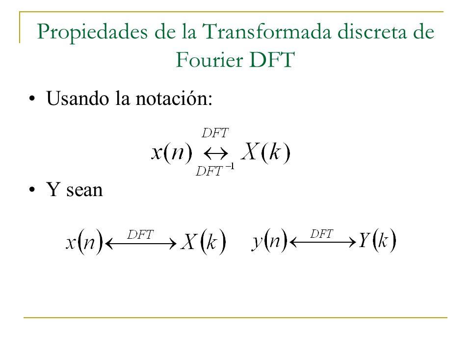 Propiedades de la Transformada discreta de Fourier DFT