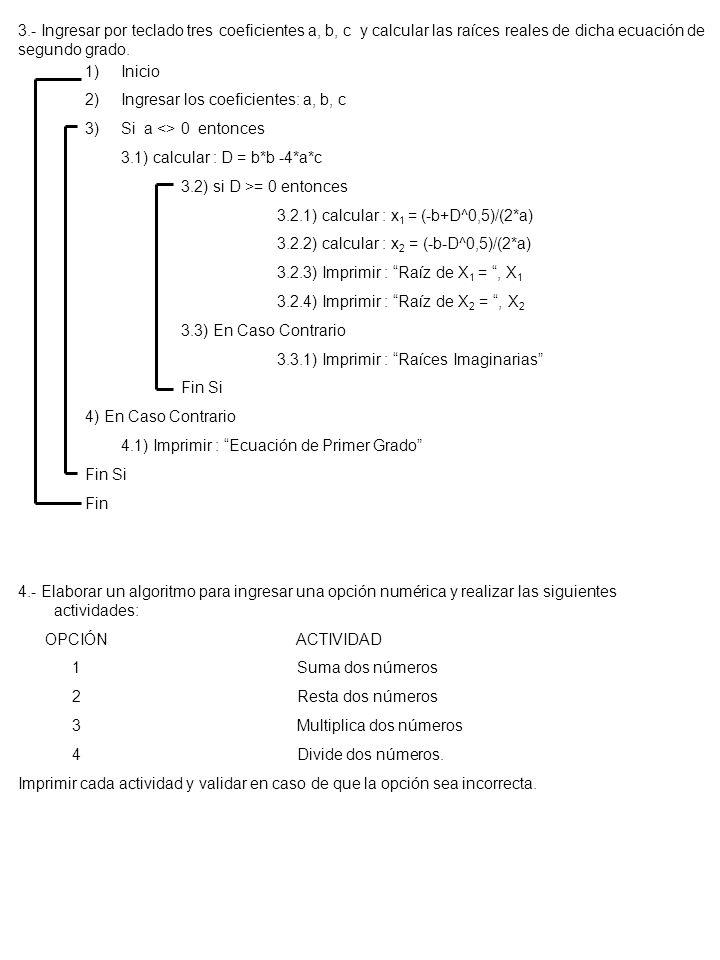 3.- Ingresar por teclado tres coeficientes a, b, c y calcular las raíces reales de dicha ecuación de segundo grado.