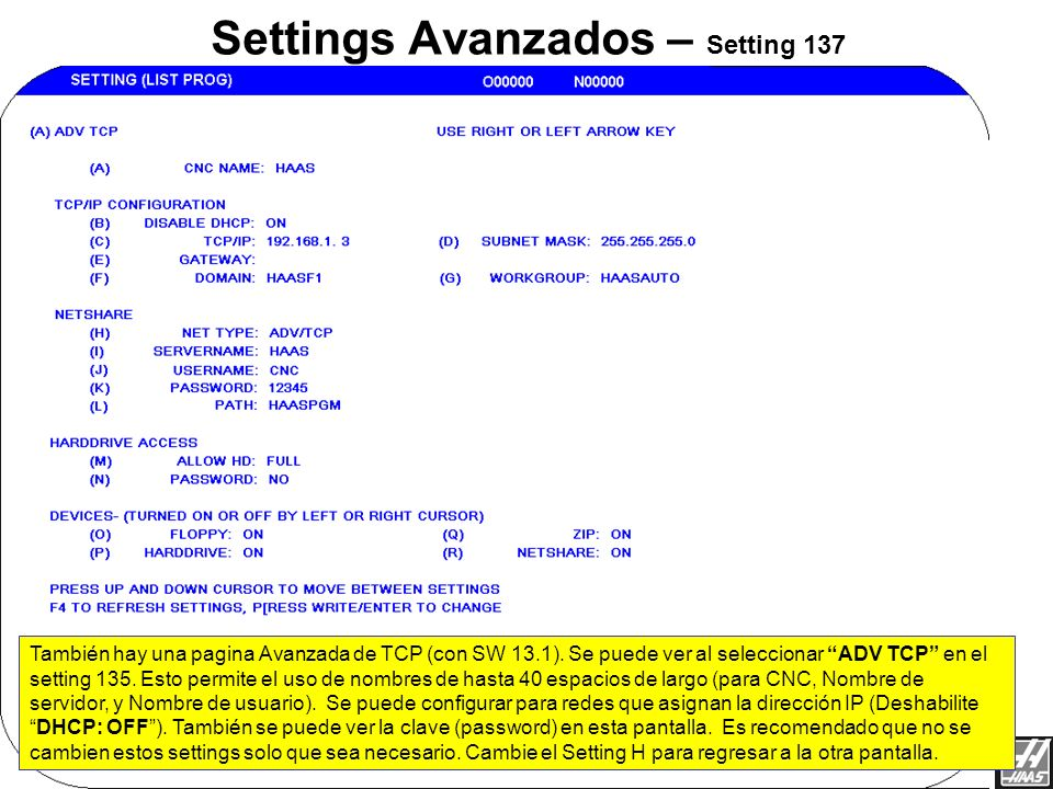 Settings Avanzados – Setting 137