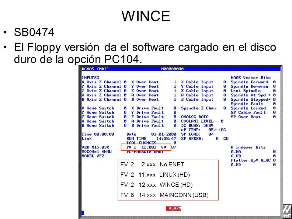 Red de Haas 3/23/2017. WINCE. SB0474. El Floppy versión da el software cargado en el disco duro de la opción PC104.