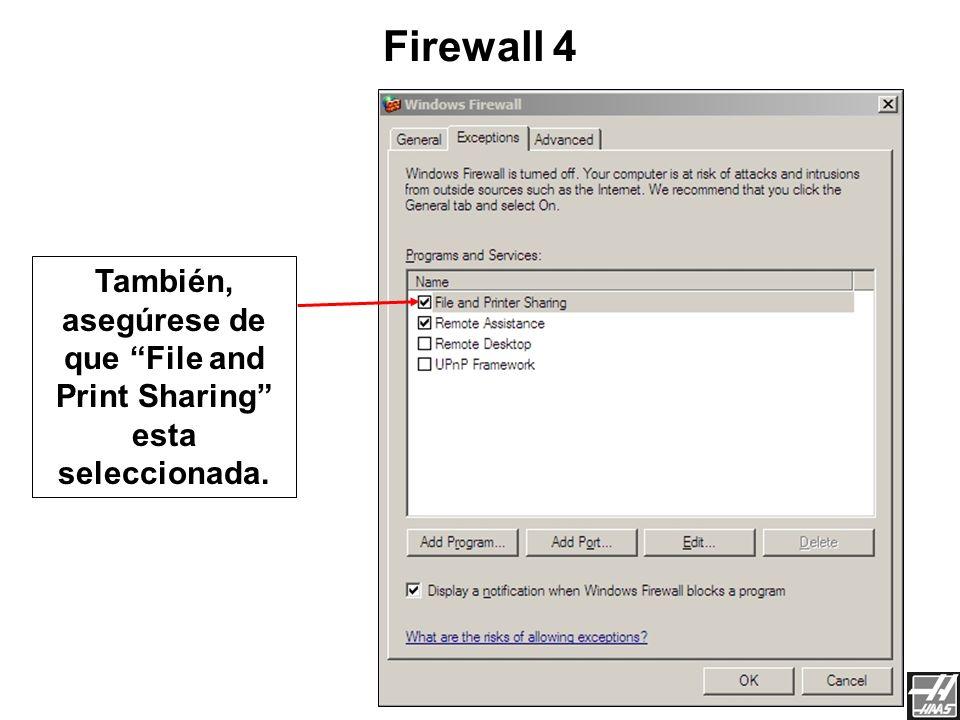 También, asegúrese de que File and Print Sharing esta seleccionada.