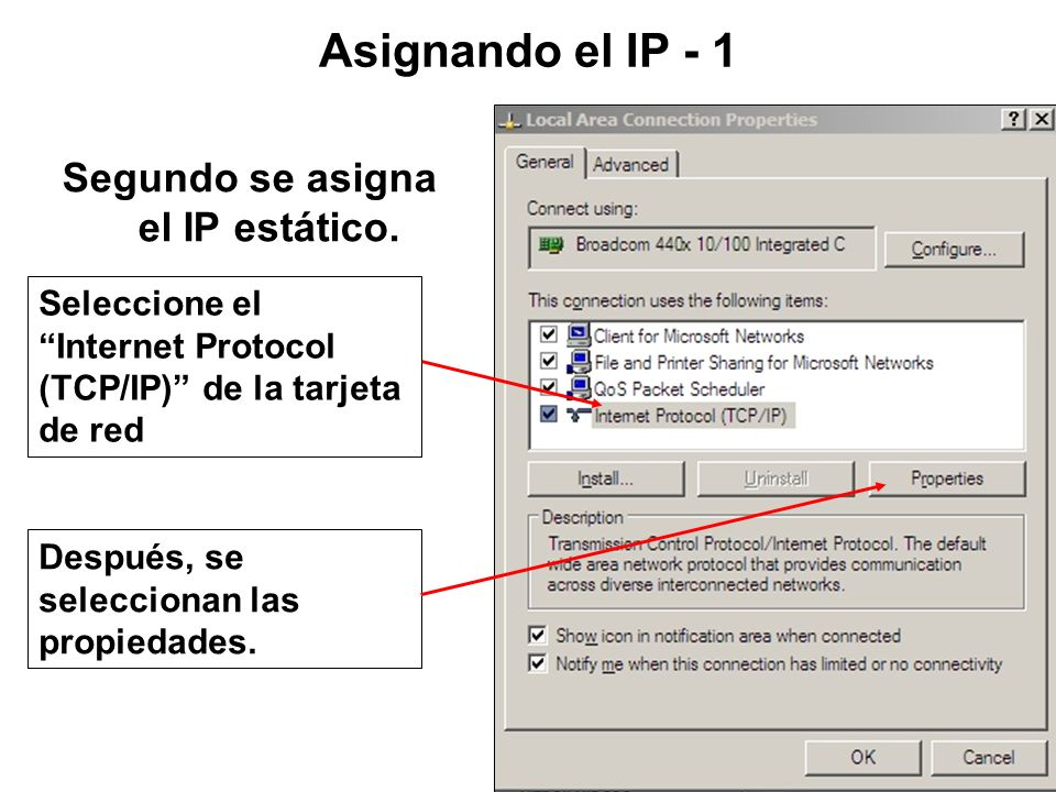 Segundo se asigna el IP estático.