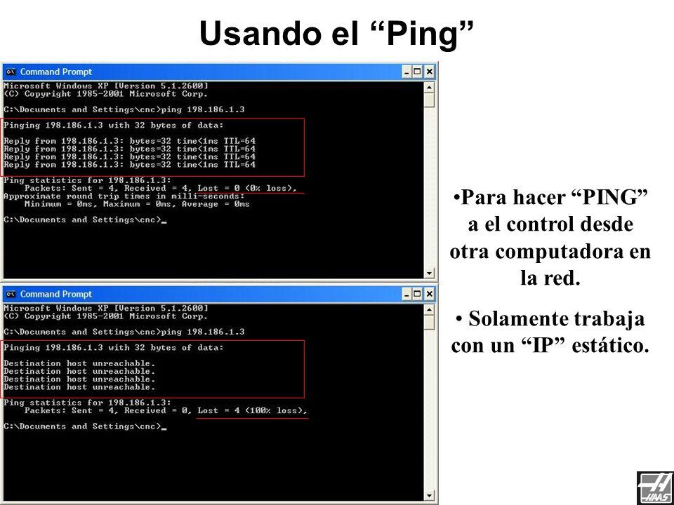 Red de Haas 3/23/2017. Usando el Ping Para hacer PING a el control desde otra computadora en la red.