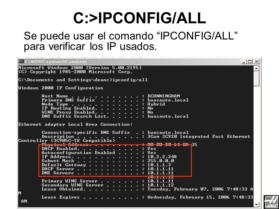 Red de Haas3/23/2017. C:>IPCONFIG/ALL. Se puede usar el comando IPCONFIG/ALL para verificar los IP usados.