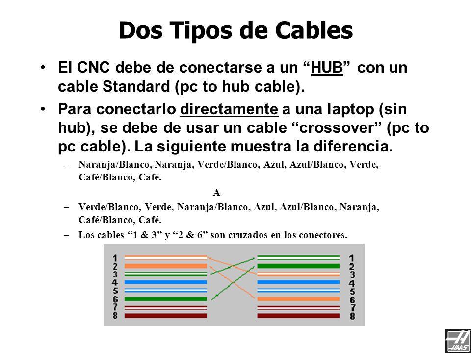 Red de Haas 3/23/2017. Dos Tipos de Cables. El CNC debe de conectarse a un HUB con un cable Standard (pc to hub cable).