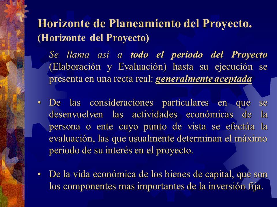 Horizonte de Planeamiento del Proyecto. (Horizonte del Proyecto)