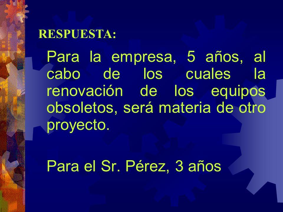 Para el Sr. Pérez, 3 años RESPUESTA: