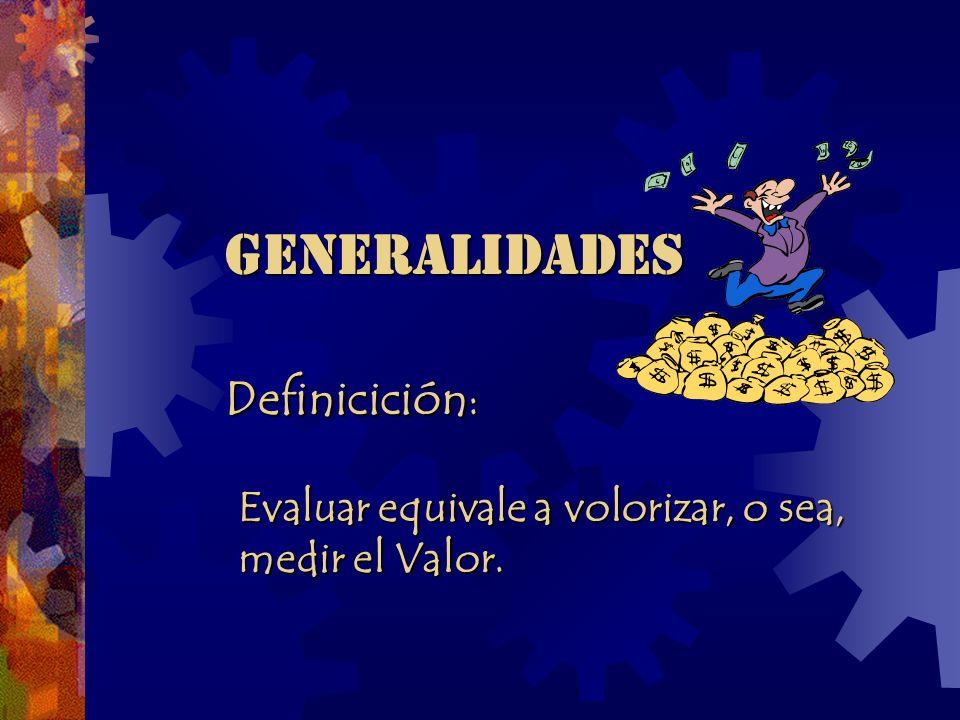 GENERALIDADES Definicición: Evaluar equivale a volorizar, o sea,