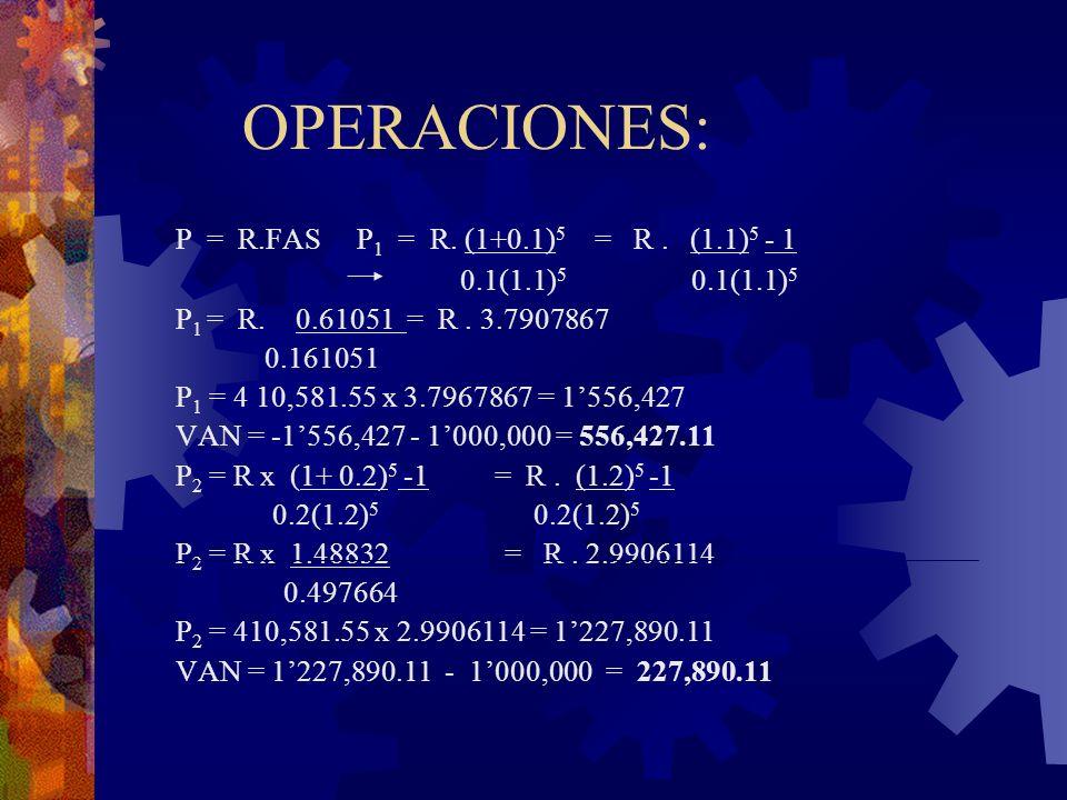 OPERACIONES: P = R.FAS P1 = R. (1+0.1)5 = R . (1.1)5 - 1