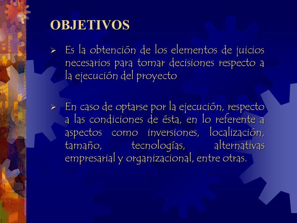 OBJETIVOS Es la obtención de los elementos de juicios necesarios para tomar decisiones respecto a la ejecución del proyecto.