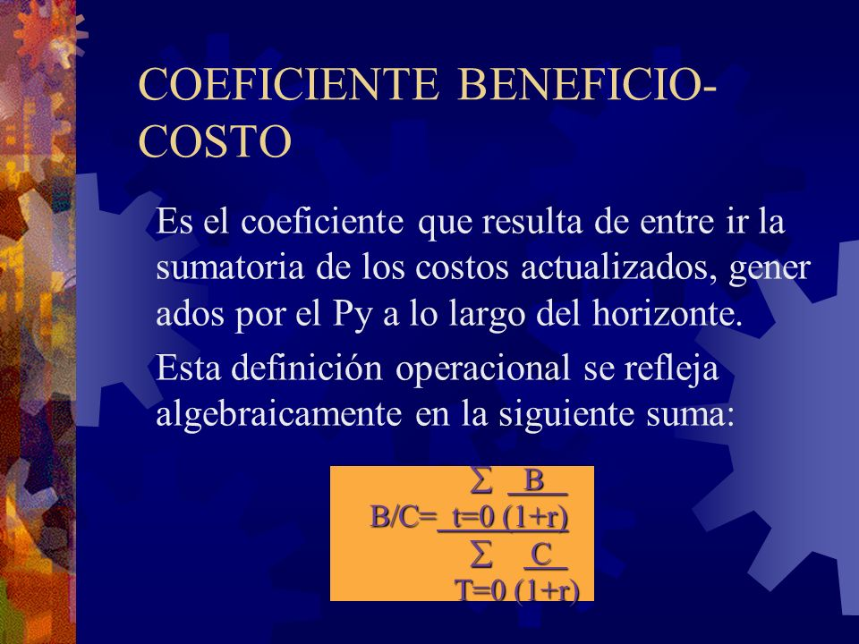 COEFICIENTE BENEFICIO-COSTO