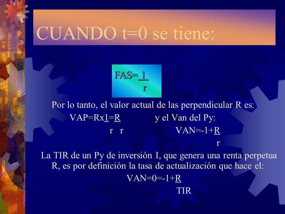 CUANDO t=0 se tiene:Por lo tanto, el valor actual de las perpendicular R es: VAP=Rx1=R y el Van del Py: