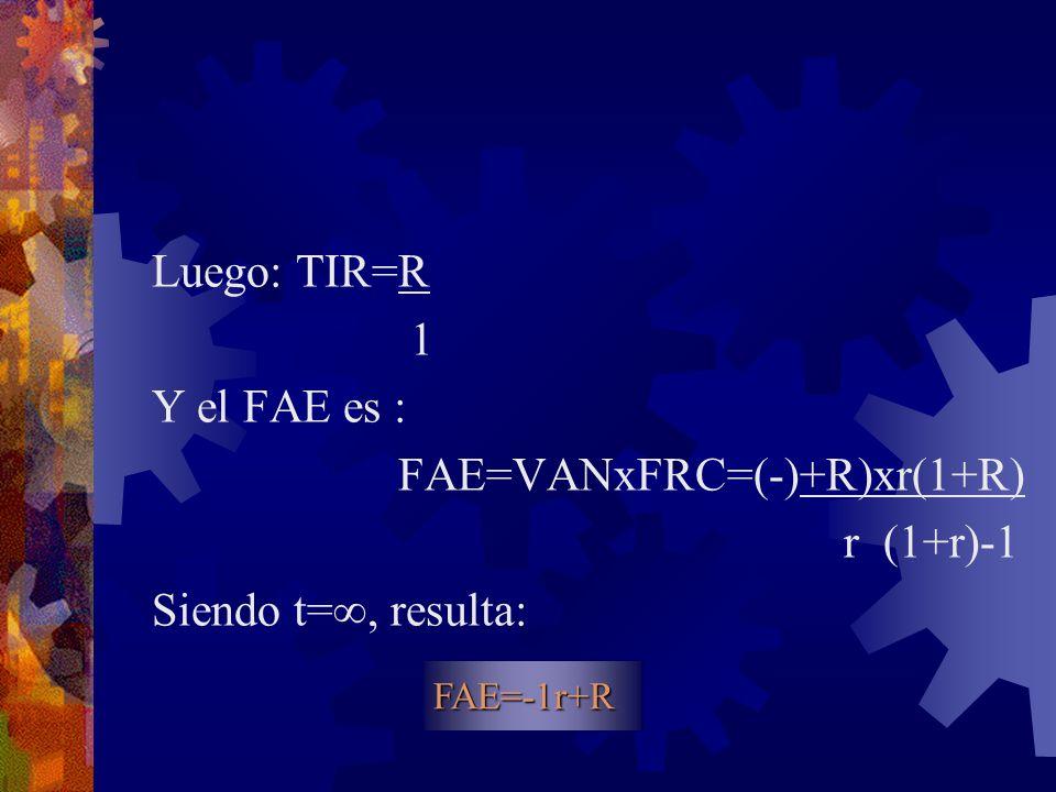 FAE=VANxFRC=(-)+R)xr(1+R) r (1+r)-1 Siendo t=, resulta:
