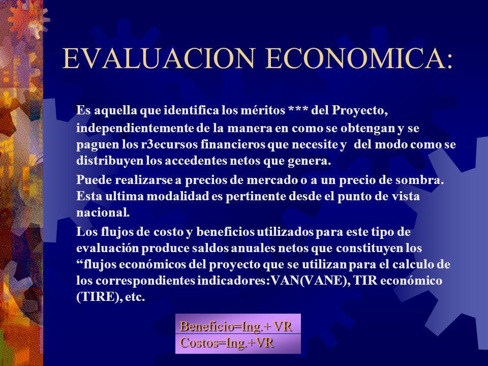 EVALUACION ECONOMICA: