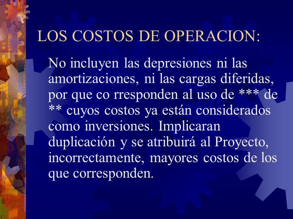 LOS COSTOS DE OPERACION: