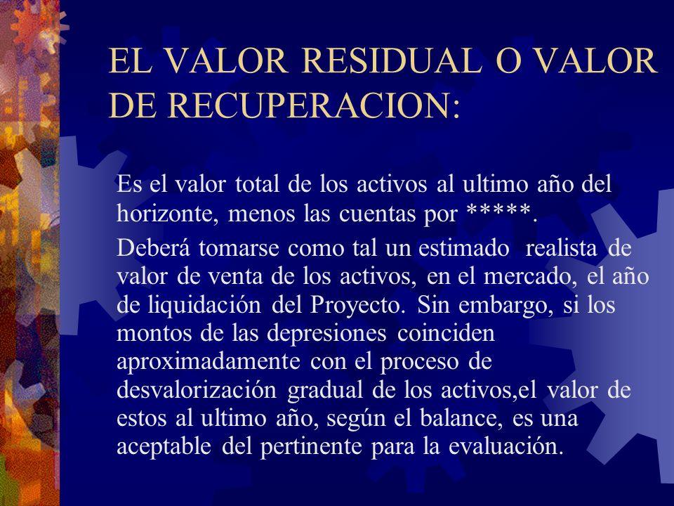 EL VALOR RESIDUAL O VALOR DE RECUPERACION: