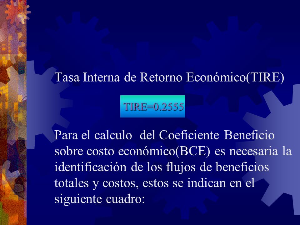 Tasa Interna de Retorno Económico(TIRE)