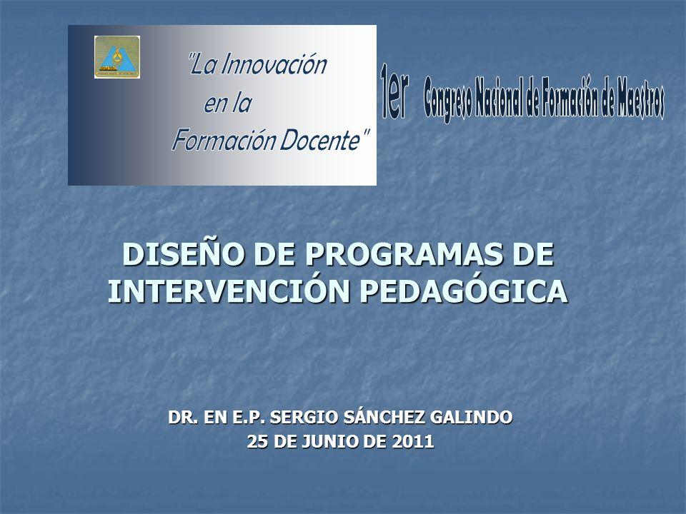 DISEÑO DE PROGRAMAS DE INTERVENCIÓN PEDAGÓGICA