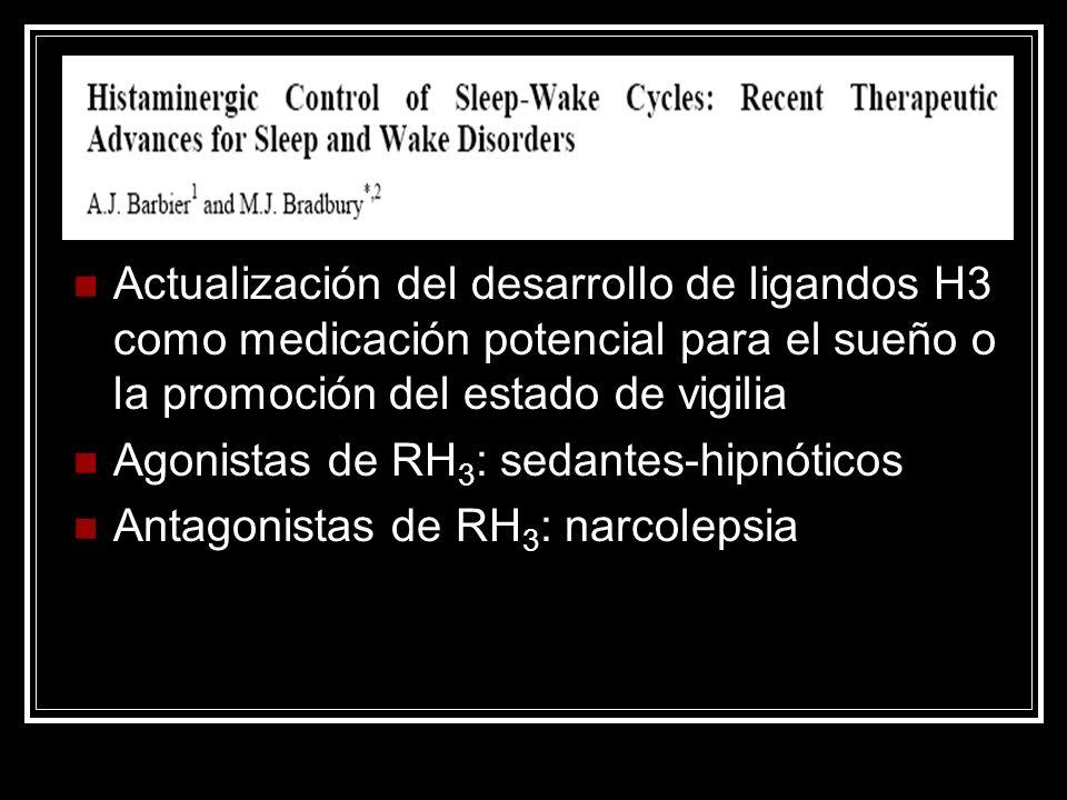 Actualización del desarrollo de ligandos H3 como medicación potencial para el sueño o la promoción del estado de vigilia