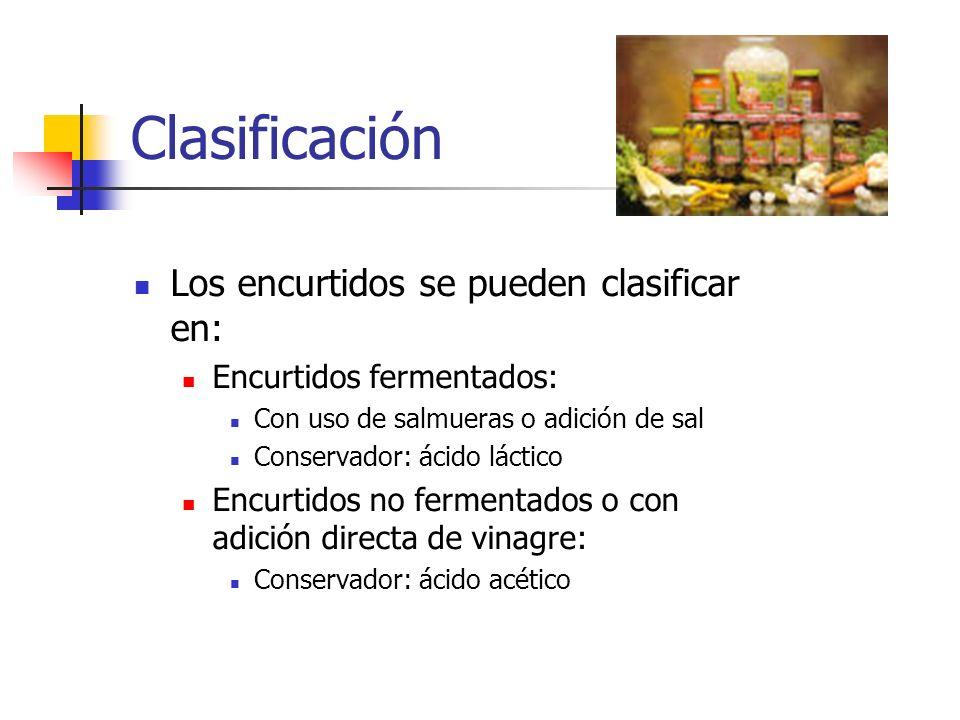 Clasificación Los encurtidos se pueden clasificar en: