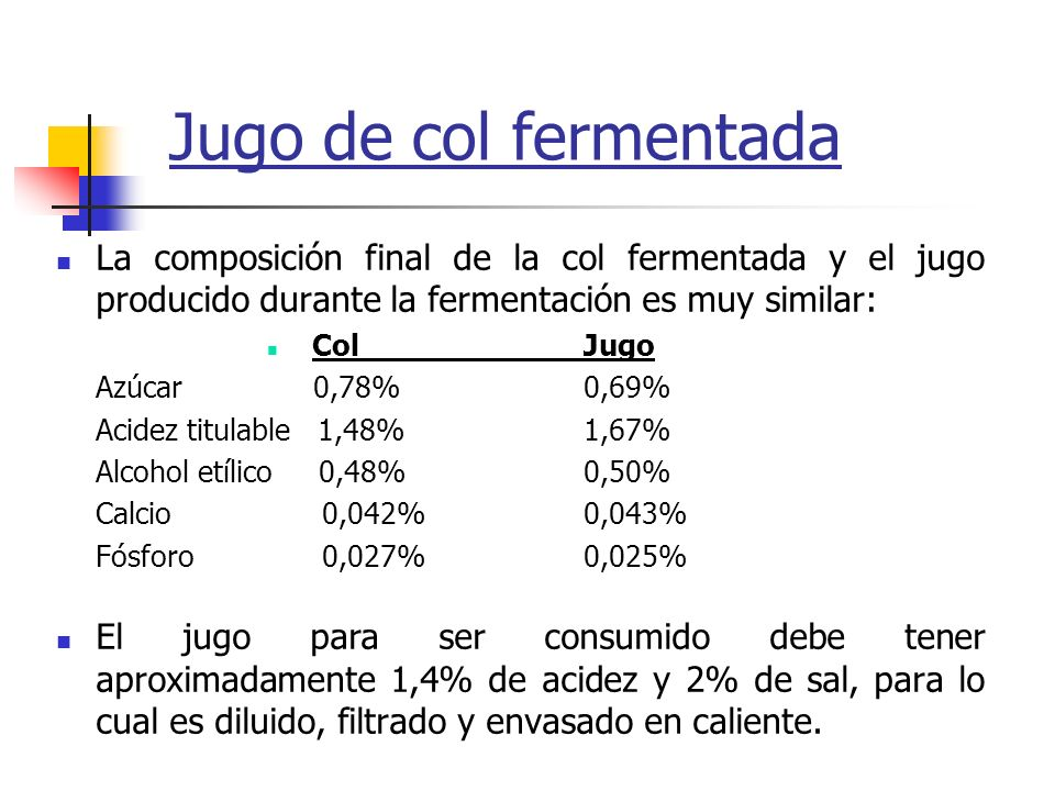 Jugo de col fermentada La composición final de la col fermentada y el jugo producido durante la fermentación es muy similar: