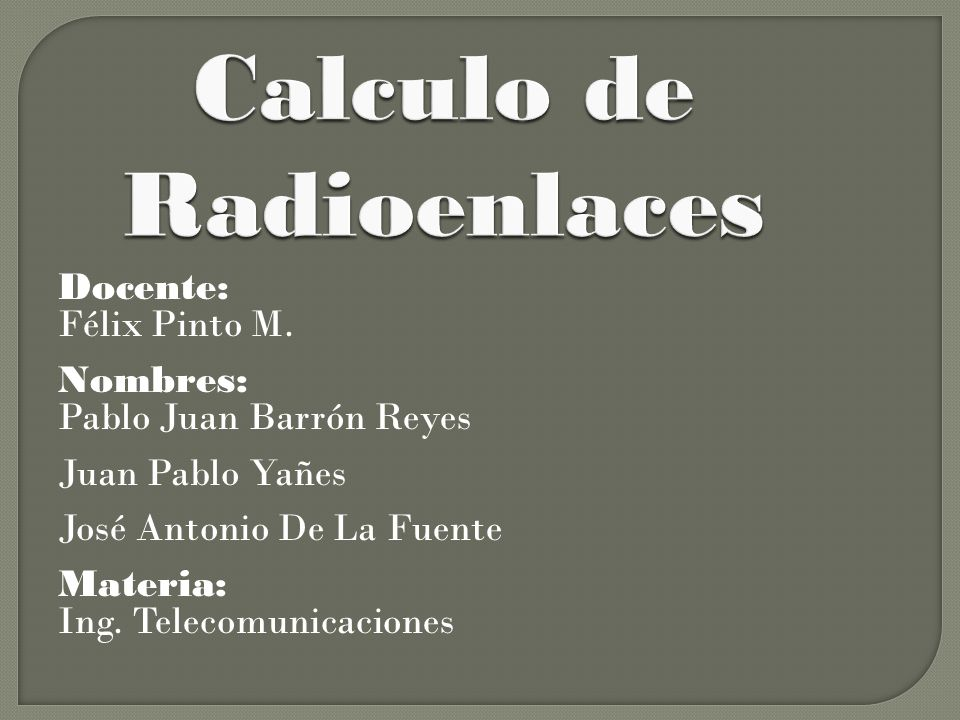 Calculo de Radioenlaces