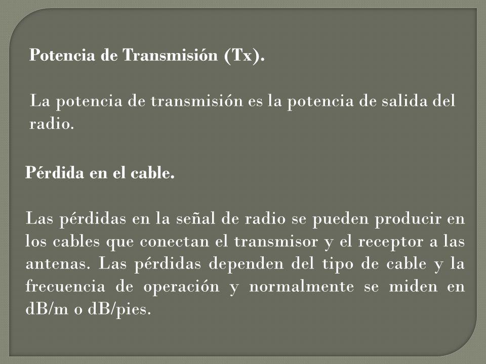 Potencia de Transmisión (Tx).