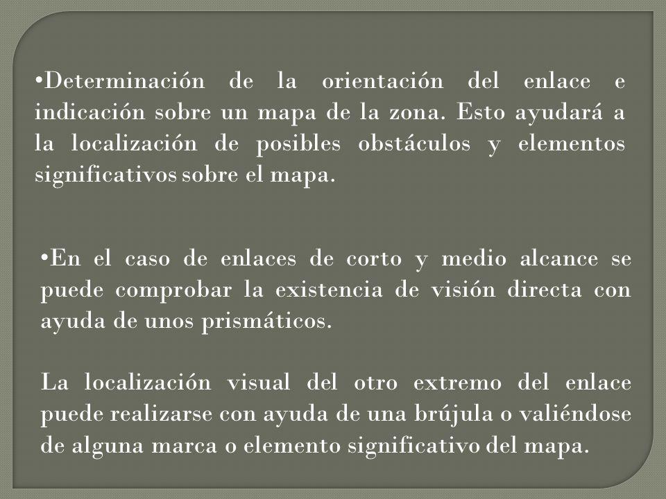 Determinación de la orientación del enlace e indicación sobre un mapa de la zona. Esto ayudará a la localización de posibles obstáculos y elementos significativos sobre el mapa.