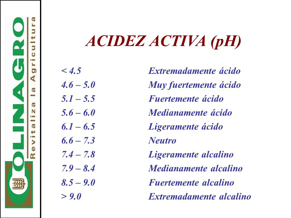 ACIDEZ ACTIVA (pH) < 4.5 Extremadamente ácido