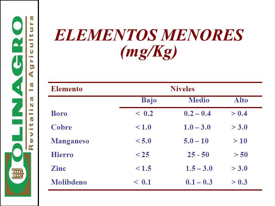 ELEMENTOS MENORES (mg/Kg)