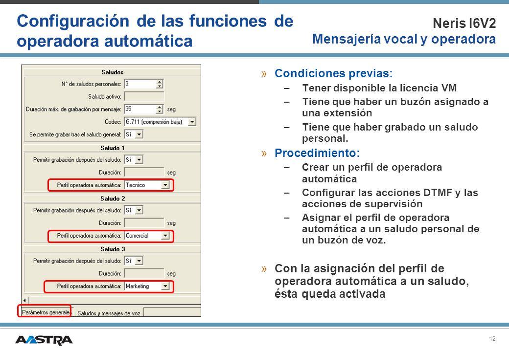 Configuración de las funciones de operadora automática