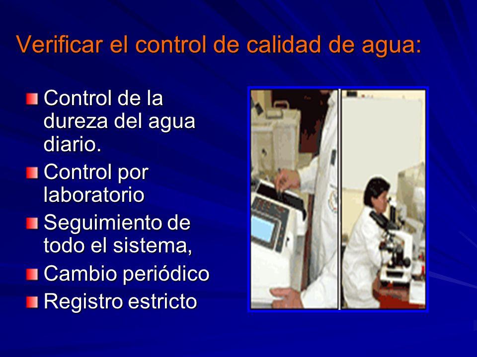 Verificar el control de calidad de agua: