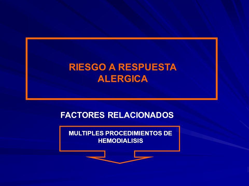 RIESGO A RESPUESTA ALERGICA MULTIPLES PROCEDIMIENTOS DE HEMODIALISIS