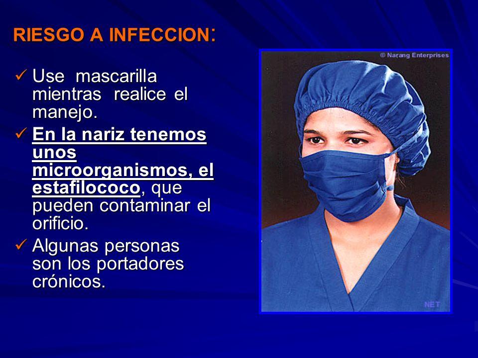 RIESGO A INFECCION: Use mascarilla mientras realice el manejo.