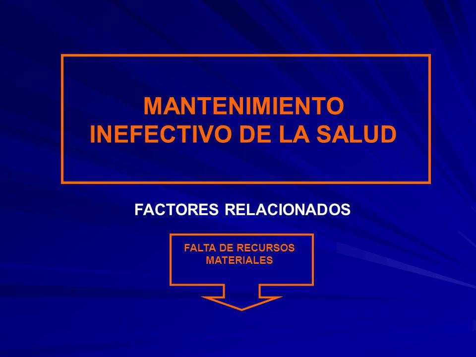 MANTENIMIENTO INEFECTIVO DE LA SALUD FALTA DE RECURSOS MATERIALES