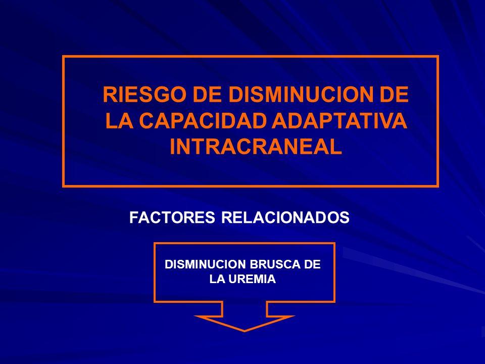 RIESGO DE DISMINUCION DE LA CAPACIDAD ADAPTATIVA INTRACRANEAL
