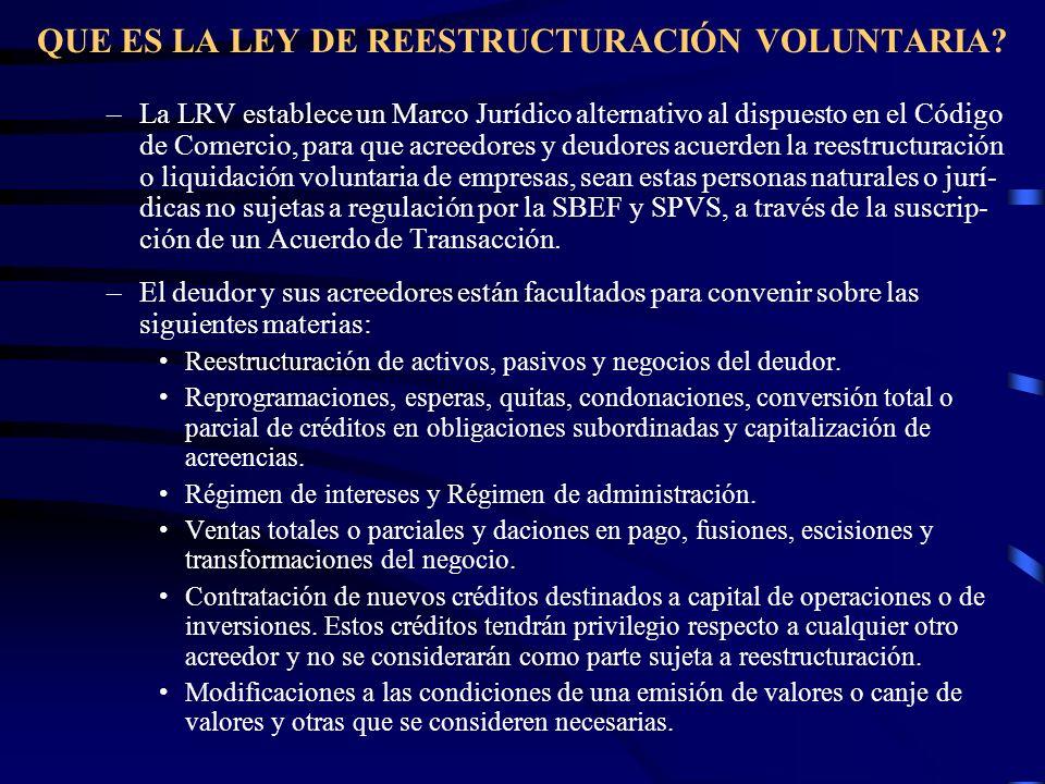 QUE ES LA LEY DE REESTRUCTURACIÓN VOLUNTARIA