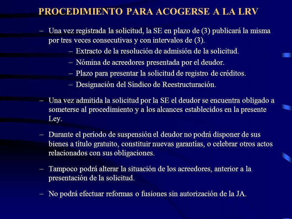 PROCEDIMIENTO PARA ACOGERSE A LA LRV