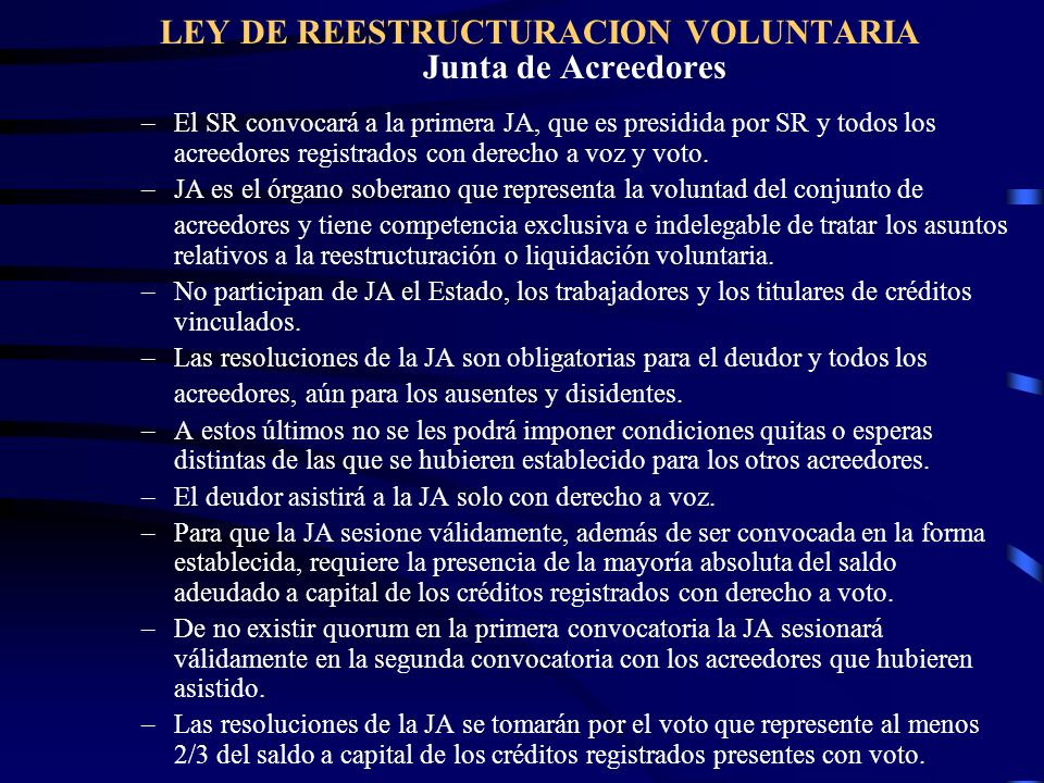 LEY DE REESTRUCTURACION VOLUNTARIA